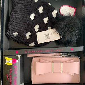 Betsey Johnson hat and wallet set